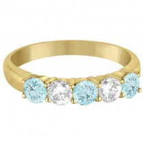 Five Stone Diamond and Aquamarine Ring 14k Yellow Gold (1.36ctw)