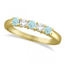 Five Stone Diamond and Aquamarine Ring 14k Yellow Gold (0.67ctw)