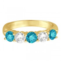Five Stone White and Blue Diamond Ring 14k Yellow Gold (1.50ctw)