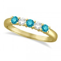Five Stone White and Blue Diamond Ring 14k Yellow Gold (0.50ctw)