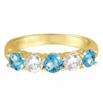 Five Stone Diamond and Blue Topaz Ring 14k Yellow Gold (1.92ctw)