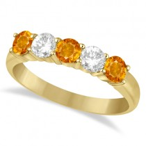 Five Stone Diamond and Citrine Ring 14k Yellow Gold (1.36ctw)