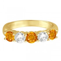 Five Stone Diamond and Citrine Ring 14k Yellow Gold (1.92ctw)