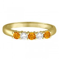 Five Stone Diamond and Citrine Ring 14k Yellow Gold (0.67ctw)