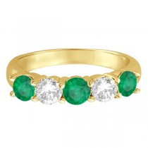 Five Stone Diamond and Emerald Ring 14k Yellow Gold (1.95ctw)|escape