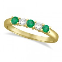 Five Stone Diamond and Emerald Ring 14k Yellow Gold (0.55ctw)