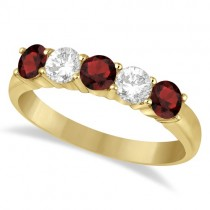 Five Stone Diamond and Garnet Ring 14k Yellow Gold (1.36ctw)