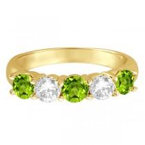 Five Stone Diamond and Peridot Ring 14k Yellow Gold (1.92ctw)