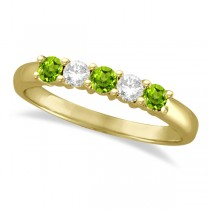 Five Stone Diamond and Peridot Ring 14k Yellow Gold (0.67ctw)