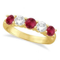 Five Stone Diamond and Ruby Ring 14k Yellow Gold (1.95ctw)