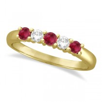 Five Stone Diamond and Ruby Ring 14k Yellow Gold (0.55ctw)