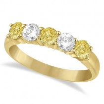 Five Stone White & Fancy Yellow Diamond Ring 14k Yellow Gold (1.00ctw)