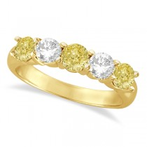 Five Stone White & Fancy Yellow Diamond Ring 14k Yellow Gold (1.50ctw)