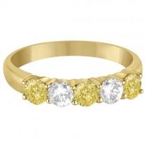 Five Stone White & Fancy Yellow Diamond Ring 14k Yellow Gold (1.00ctw)