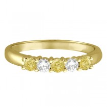 Five Stone White & Fancy Yellow Diamond Ring 14k Yellow Gold (0.50ctw)