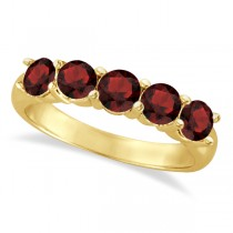 Five Stone Garnet Ring 14k Yellow Gold (2.10ctw)
