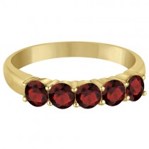 Five Stone Garnet Ring 14k Yellow Gold (1.60ctw)