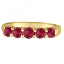 Five Stone Ruby Ring Anniversary Band 14k Yellow Gold (1.70ctw)