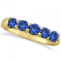 Five Stone Blue Sapphire Ring Band 14k Yellow Gold (1.45ct)
