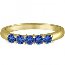 Five Stone Blue Sapphire Ring Band 14k Yellow Gold (0.70ct)