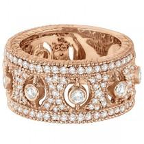 Vintage Bezel-Set Wide Band Diamond Ring 14k Rose Gold (1.70ct)