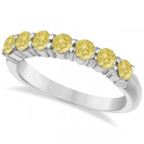 Seven-Stone Fancy Yellow Diamond Ring Band 14k White Gold (1.00ct)