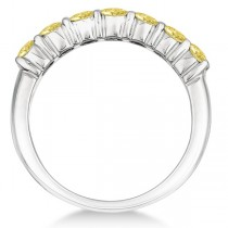Seven-Stone Fancy Yellow Diamond Ring Band 14k White Gold (1.00ct)|escape