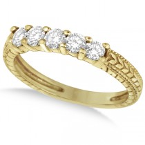 Five-Stone Vintage Filigree Diamond Ring Band 14k Yellow Gold (0.50ct)