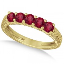 Five-Stone Milgrain Filigree Ruby Ring Band 14k Yellow Gold (0.90ct)