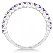 Half-Eternity Pave-Set Amethyst Stacking Ring Palladium (0.95ct)