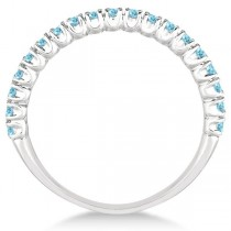Half-Eternity Pave-Set Thin Aquamarine Stacking Ring Palladium (0.65ct)