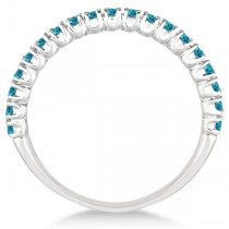 Half-Eternity Pave-Set Thin Blue Diamond Stacking Ring Palladium (0.50ct)