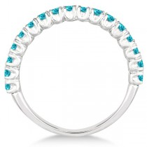 Half-Eternity Pave-Set Blue Diamond Stacking Ring Palladium (0.75ct)