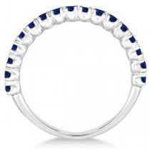 Half-Eternity Pave-Set Blue Sapphire Stacking Ring Palladium (0.95ct)