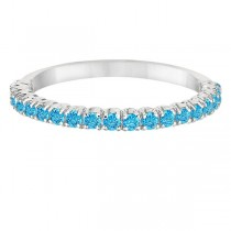 Half-Eternity Pave-Set Thin Blue Topaz Stacking Ring Palladium (0.65ct)