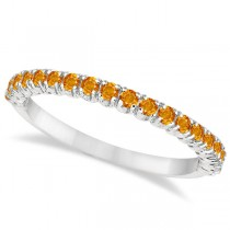 Half-Eternity Pave-Set Thin Citrine Stacking Ring Palladium (0.65ct)