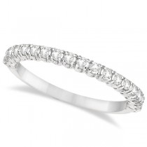 Half-Eternity Pave-Set Thin Diamond Stacking Ring Palladium (0.50ct)