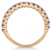 Half-Eternity Pave-Set Amethyst Stacking Ring 14k Rose Gold (0.95ct)