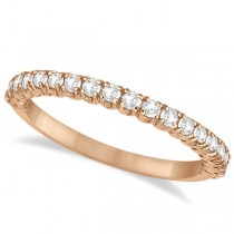 Half-Eternity Pave-Set Thin Diamond Stacking Ring 14k Rose Gold (0.50ct)