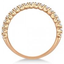 Half-Eternity Pave-Set Thin Diamond Stacking Ring 14k Rose Gold (0.50ct)