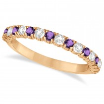 Amethyst & Diamond Wedding Band Anniversary Ring in 14k Rose Gold (0.75ct)