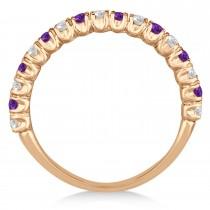 Amethyst & Diamond Wedding Band Anniversary Ring in 14k Rose Gold (0.75ct)