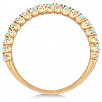 Aquamarine & Diamond Wedding Band Anniversary Ring in 14k Rose Gold (0.50ct)