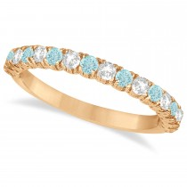 Aquamarine & Diamond Wedding Band Anniversary Ring in 14k Rose Gold (0.75ct)