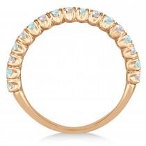 Aquamarine & Diamond Wedding Band Anniversary Ring in 14k Rose Gold (0.75ct)