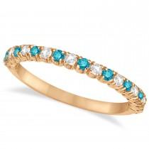 Blue & White Diamond Wedding Band Anniversary Ring in 14k Rose Gold (0.50ct)