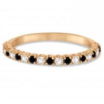 Black & White Diamond Wedding Band Anniversary Ring in 14k Rose Gold (0.50ct)