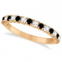 Black & White Diamond Wedding Band Anniversary Ring in 14k Rose Gold (0.75ct)