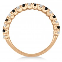 Black & White Diamond Wedding Band Anniversary Ring in 14k Rose Gold (0.75ct)