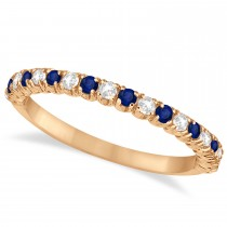 Blue Sapphire & Diamond Wedding Band Anniversary Ring in 14k Rose Gold (0.50ct)